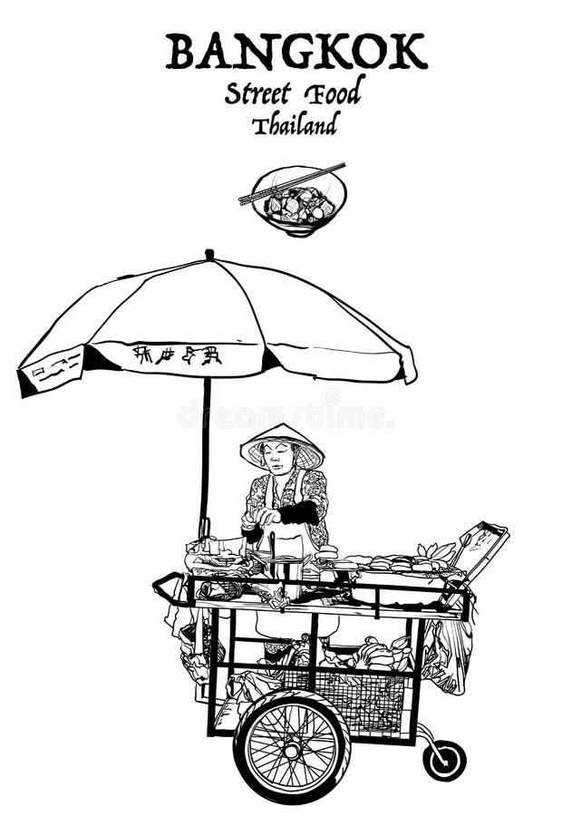 bangkok Thailand Uliczny jedzenie royalty ilustracja