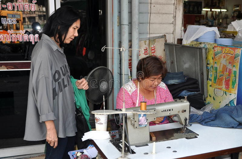 Download Bangkok, Thailand: Woman With Sewing Machine Editorial Stock Photo - Image of woman, thailand: 22570643