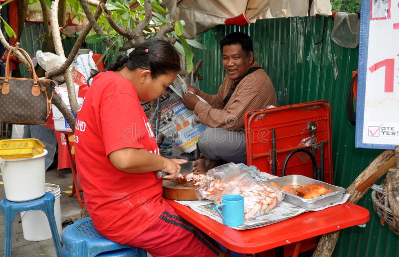 Download Bangkok, Thailand: Woman Slicing Pork Editorial Stock Photo - Image of bangkok, newspaper: 22503303