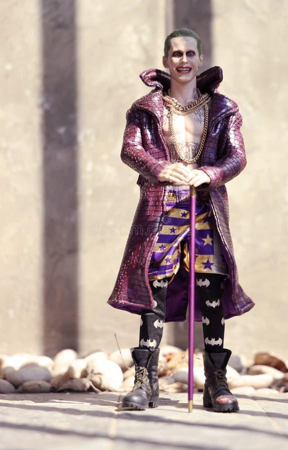 Bangkok, Thailandia: foto di un modello di Joker in azione a Home Outdoor fotografia stock libera da diritti