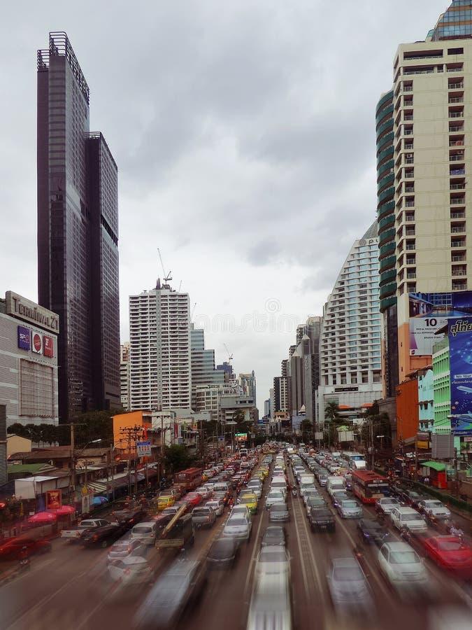 Bangkok traffic. Cars passing through a highway through the downtown in Bangkok Thailand royalty free stock photos