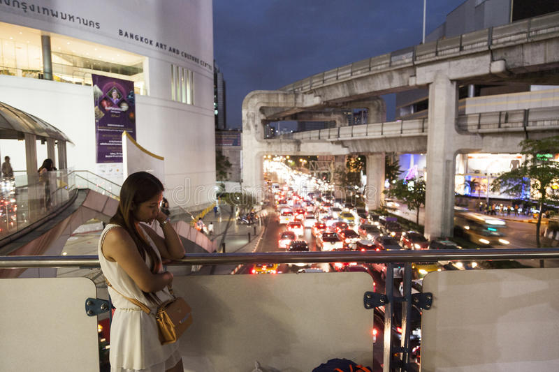 Bangkok traffic. Bangkok has big problem with urban traffic. There are too many cars and too few roads. Newly built BTS Sky train has limited number of lines and royalty free stock photo