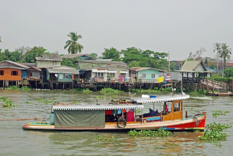 Bangkok, Vieuw from Khlong Bangkok Noi canal. Thailand, Bangkok, Vieuw from Khlong Bangkok Noi canal with boats, houses on stilts and aquatic plants stock image