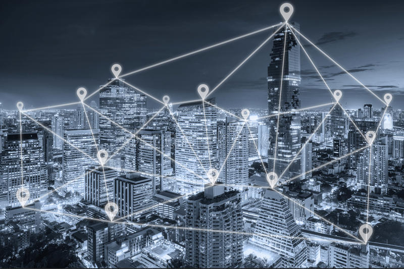 Bangkok view in business district with map pin flat network. Bangkok night view in business district with map pin flat network above Bangkok city with network royalty free stock photos