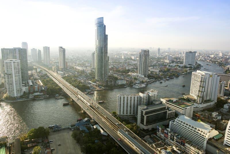 Bangkok ville 5 avril : Ville de vue supérieure le 5 avril 2015 à Bangkok images libres de droits