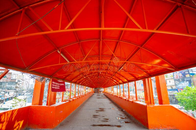 The once over-crowded Newmarket Foot Over Bridge is now empty at Dhaka, Bangladesh. Bangladesh – April 19, 2020: The once over-crowded Newmarket Foot Over stock image