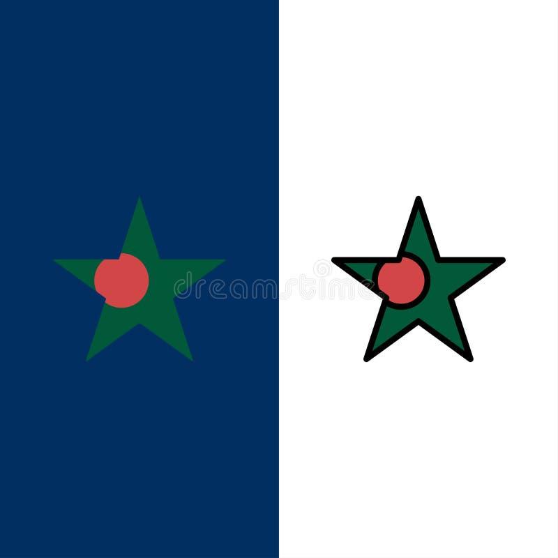 Bangladesh, bandera, iconos de la estrella El plano y la línea icono llenado fijaron el fondo azul del vector libre illustration