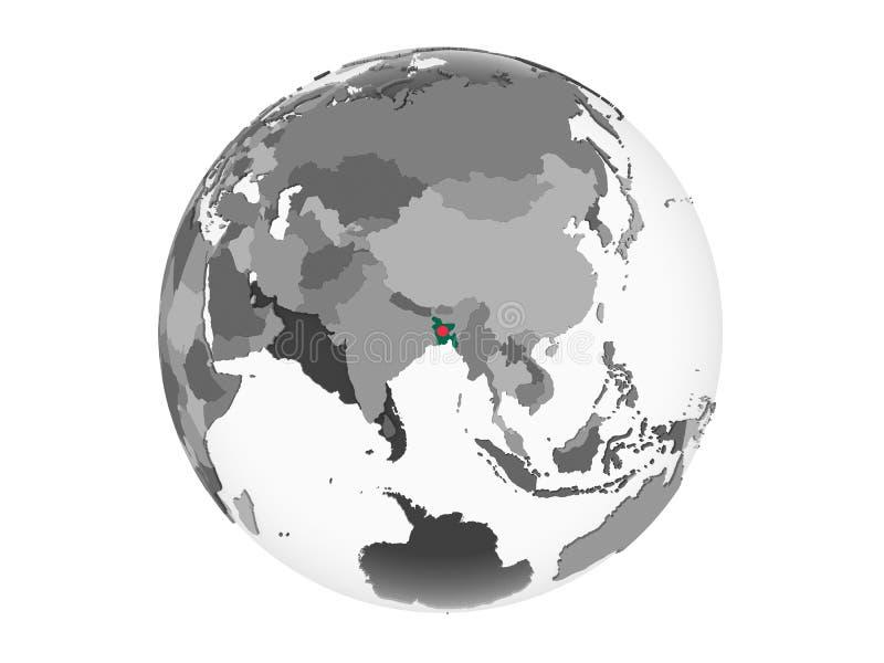 Bangladesh con la bandera en el globo aislado ilustración del vector