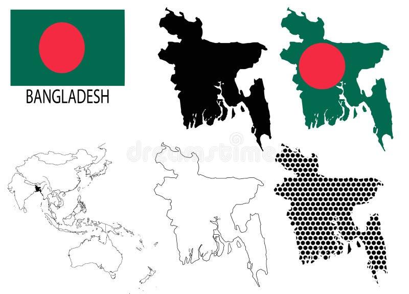 Bangladesh - Contour Maps, National Flag And Asia Map Vector Stock ...