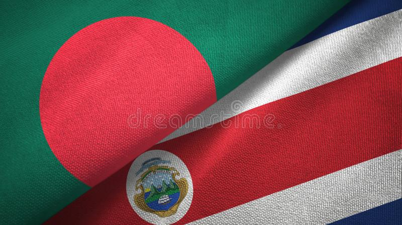 Bangladesh and Costa Rica two flags textile cloth, fabric texture. Bangladesh and Costa Rica flags together textile cloth, fabric texture vector illustration