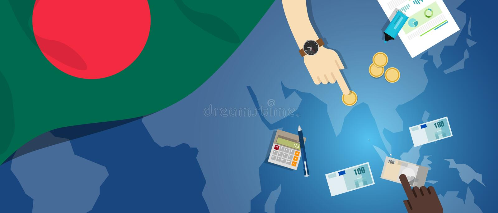 Bangladesh Daka economy fiscal money trade concept illustration of financial banking budget with flag map and currency. Vector royalty free illustration