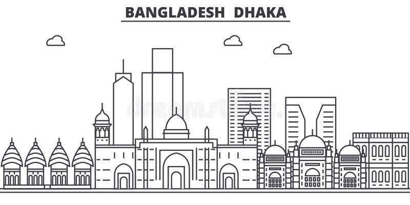 Bangladesh, Dhaka architecture line skyline illustration. Linear vector cityscape with famous landmarks, city sights. Design icons. Editable strokes royalty free illustration