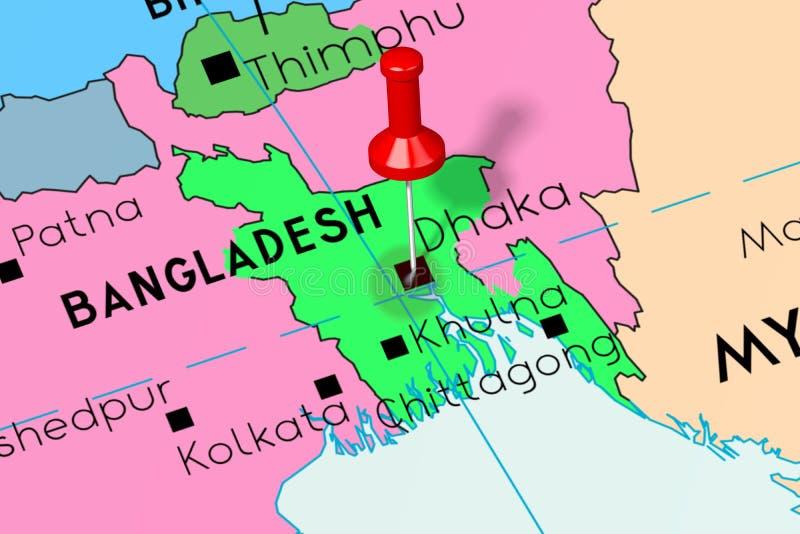 Bangladesh, Dhaka - Capital City, Pinned On Political Map ...