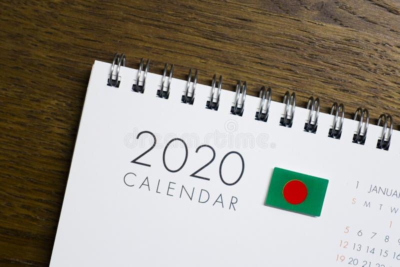 Bangladesh Flag on 2020 Calendar stock images