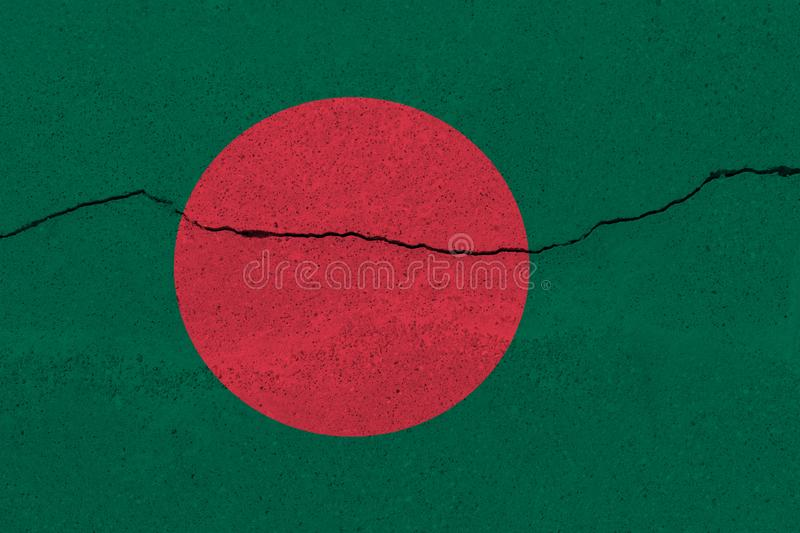 Bangladesh flag on concrete wall with crack royalty free stock photo