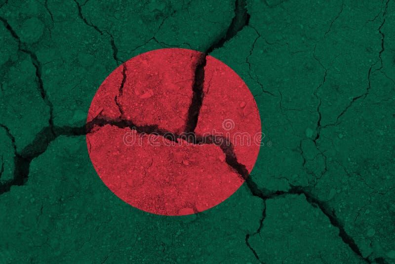 Bangladesh flag on the cracked earth royalty free stock photos