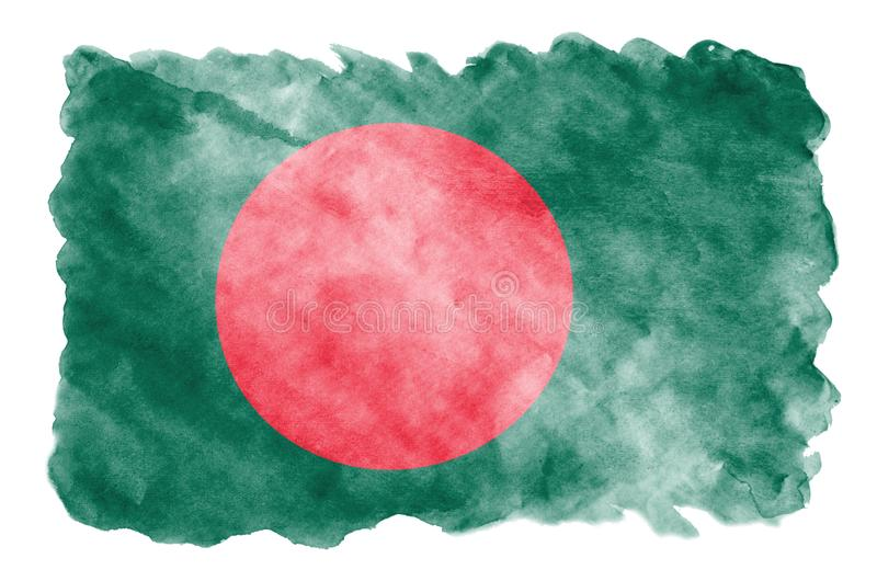 Bangladesh flag is depicted in liquid watercolor style isolated on white background stock photos