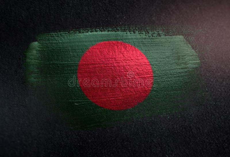 Bangladesh Flag Made of Metallic Brush Paint on Grunge Dark Wall stock photos