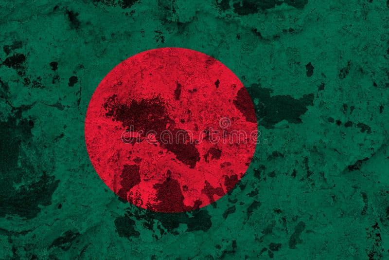 Bangladesh flag on old wall vector illustration