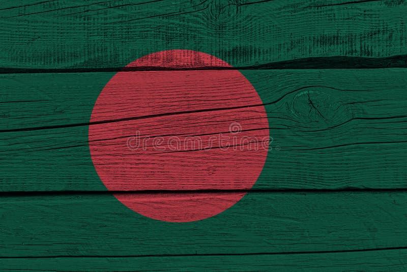 Bangladesh flag painted on old wood plank stock illustration