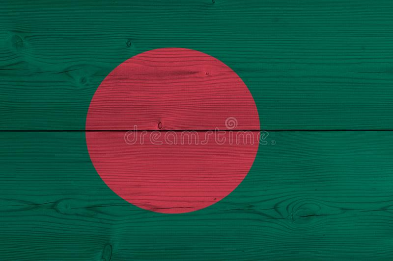 Bangladesh flag painted on old wood plank stock images