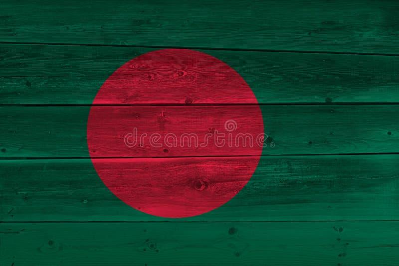 Bangladesh flag painted on old wood plank royalty free stock photo
