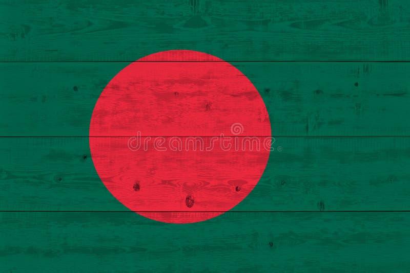 Bangladesh flag painted on old wood plank stock image