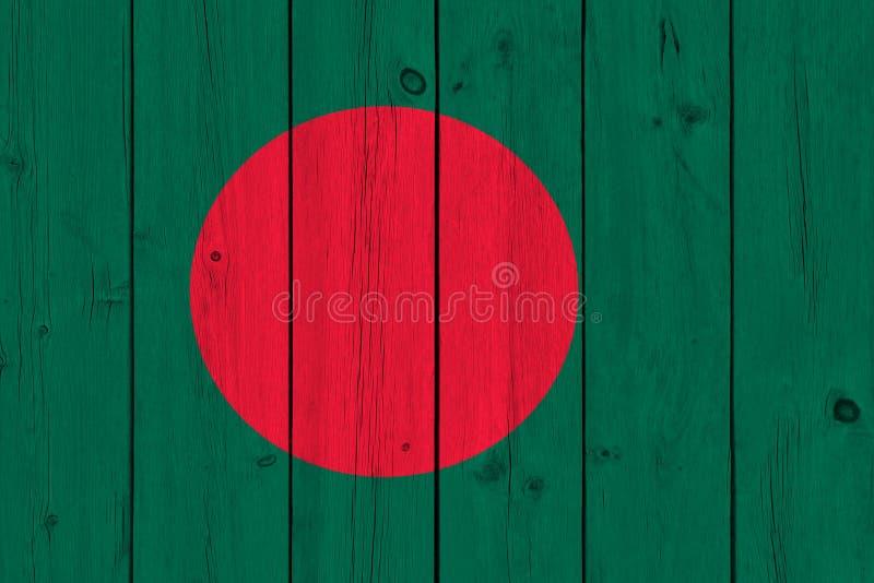 Bangladesh flag painted on old wood plank stock photo