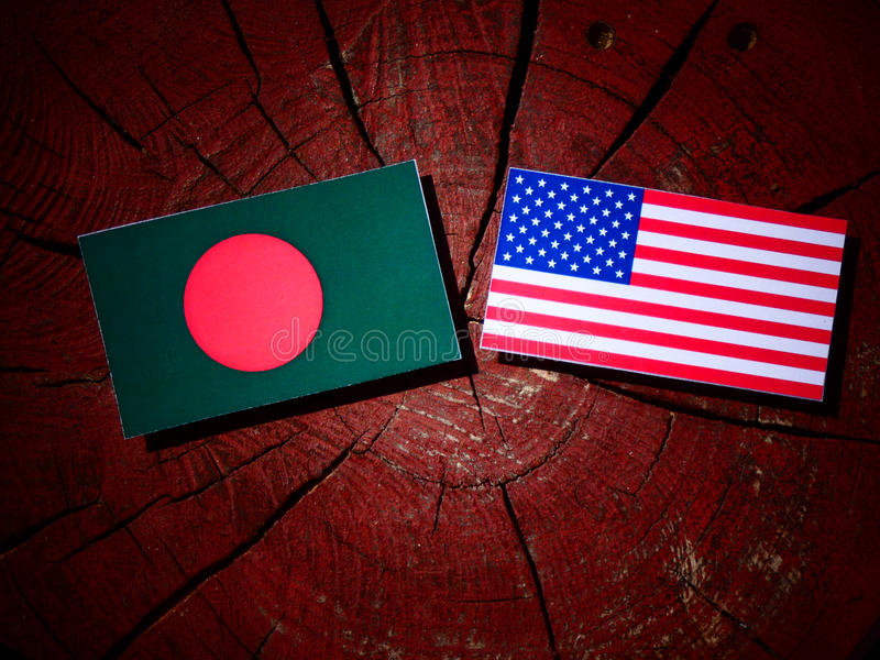 Bangladesh flag with USA flag on a tree stump stock photography