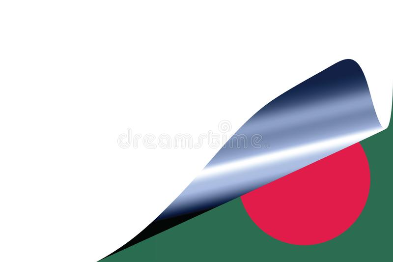 Bangladesh flag on white. With curled page stock illustration