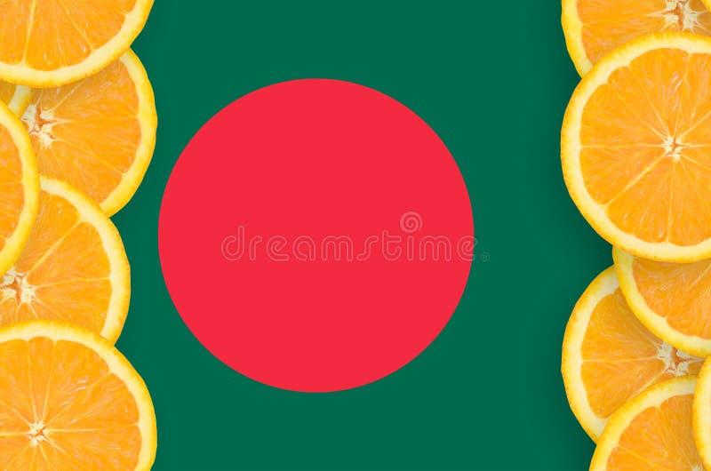 Bangladesh flagga i vertikal ram för citrusfruktskivor arkivbilder
