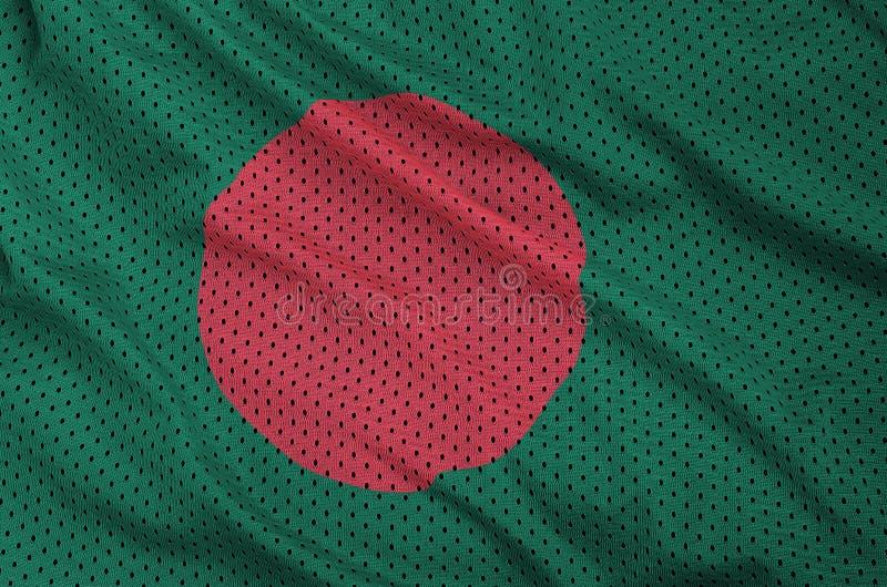 Bangladesh flagga som skrivs ut på ett fab ingrepp för polyesternylonsportswear royaltyfri foto