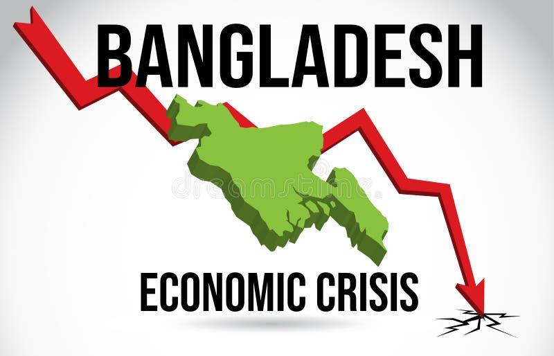 Bangladesh Map Financial Crisis Economic Collapse Market Crash Global Meltdown Vector. Illustration stock illustration