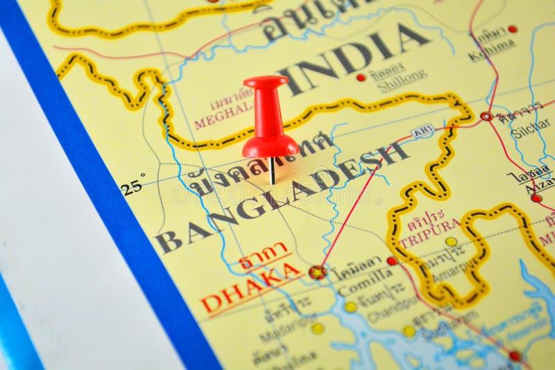 Bangladesh map. Macro shot of bangladesh map with push pin stock photo