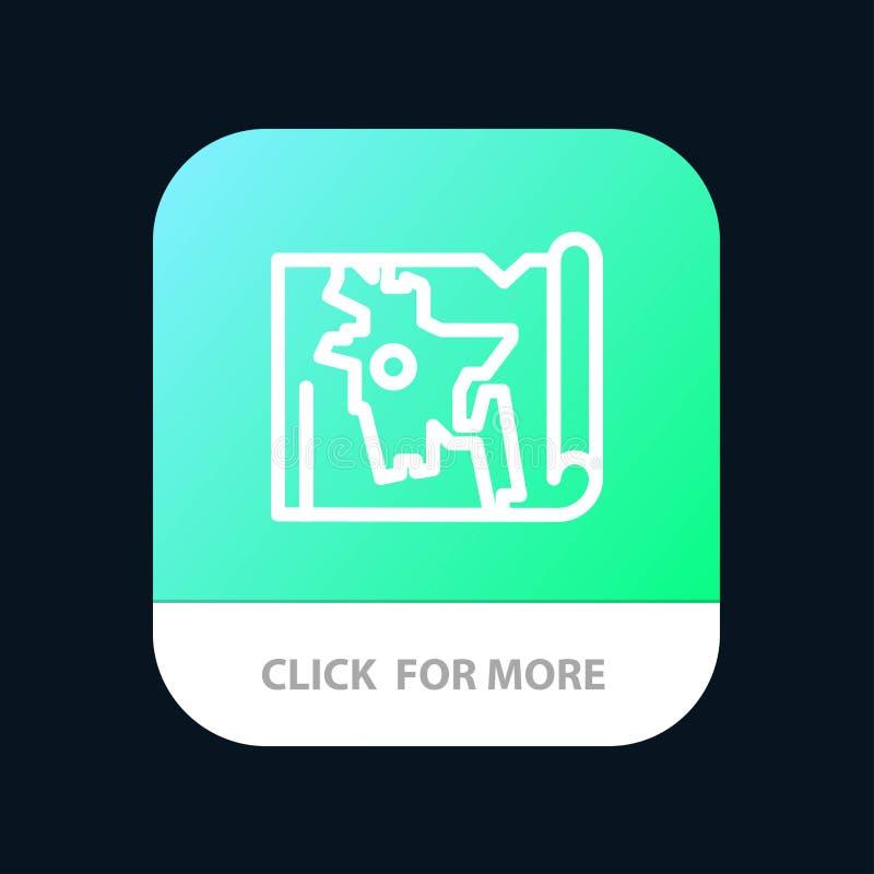 Bangladesh, mapa, mundo, botón móvil del App de Bangla Android y línea versión del IOS stock de ilustración