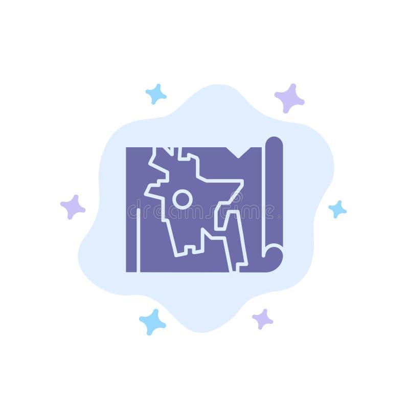 Bangladesh, mapa, mundo, icono azul de Bangla en fondo abstracto de la nube libre illustration