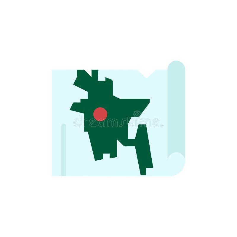 Bangladesh, mapa, mundo, icono plano del color de Bangla Plantilla de la bandera del icono del vector libre illustration