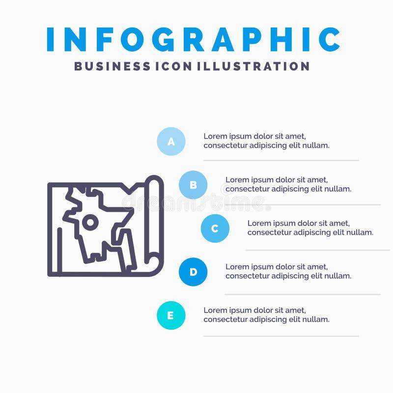 Bangladesh, mapa, mundo, línea icono de Bangla con el fondo del infographics de la presentación de 5 pasos stock de ilustración