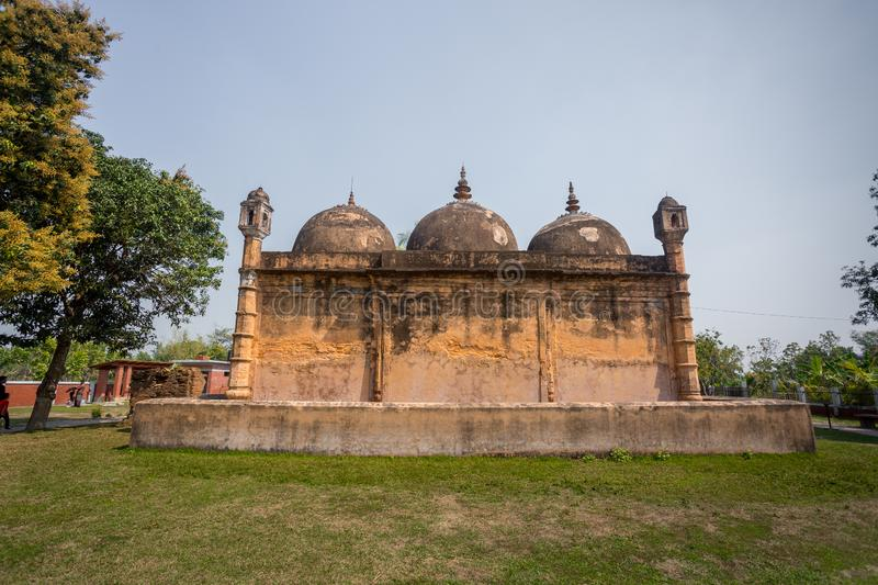 Bangladesh – March 2, 2019: Nayabad Mosque Back Side views, is located in Nayabad village in Kaharole Upazila of Dinajpur royalty free stock image