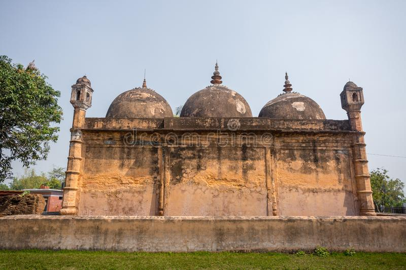 Bangladesh – March 2, 2019: Nayabad Mosque Back Side views, is located in Nayabad village in Kaharole Upazila of Dinajpur stock photography