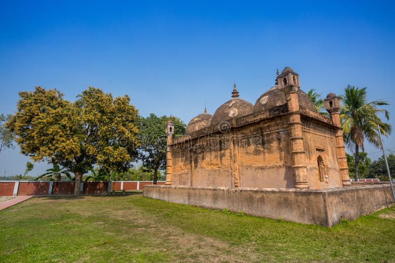 Bangladesh – March 2, 2019: Nayabad Mosque Back Side views, is located in Nayabad village in Kaharole Upazila of Dinajpur. District, Bangladesh stock photo