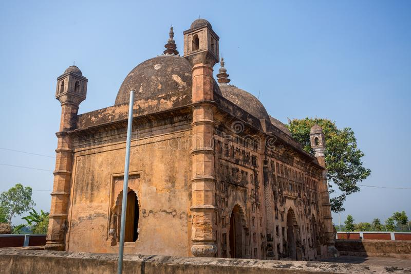 Bangladesh – March 2, 2019: Nayabad Mosque Wide Angle views, is located in Nayabad village in Kaharole Upazila of Dinajpur stock image