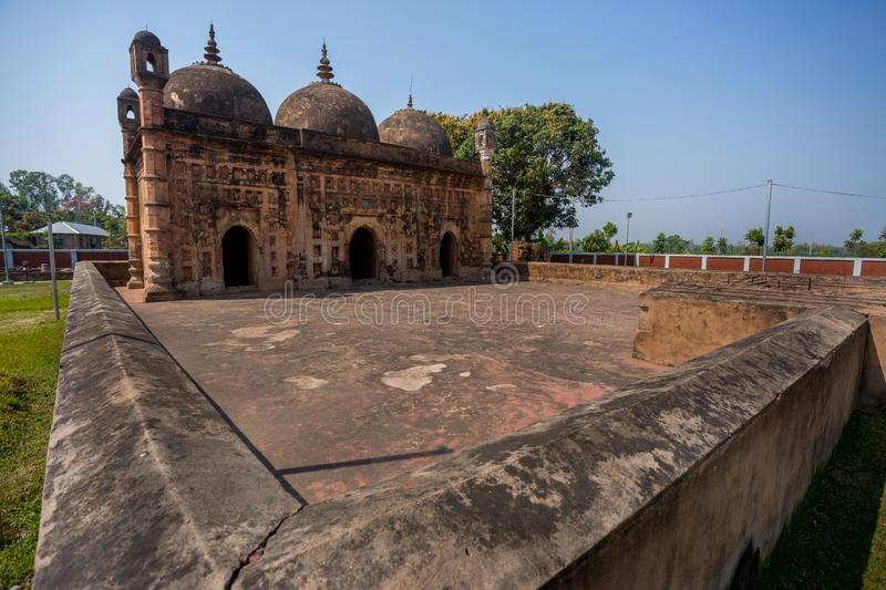 Bangladesh – March 2, 2019: Nayabad Mosque Wide Angle views, is located in Nayabad village in Kaharole Upazila of Dinajpur. District, Bangladesh royalty free stock images