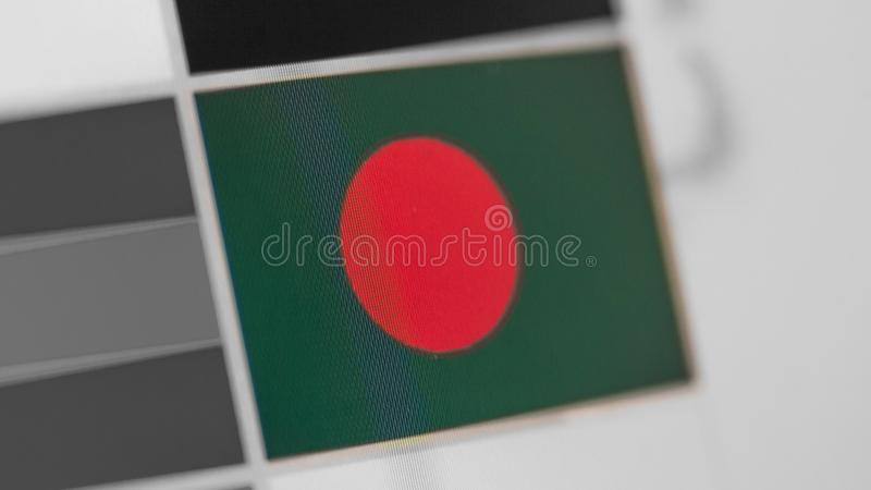 Bangladesh national flag of country. flag on the display, a digital moire effect. royalty free stock photo