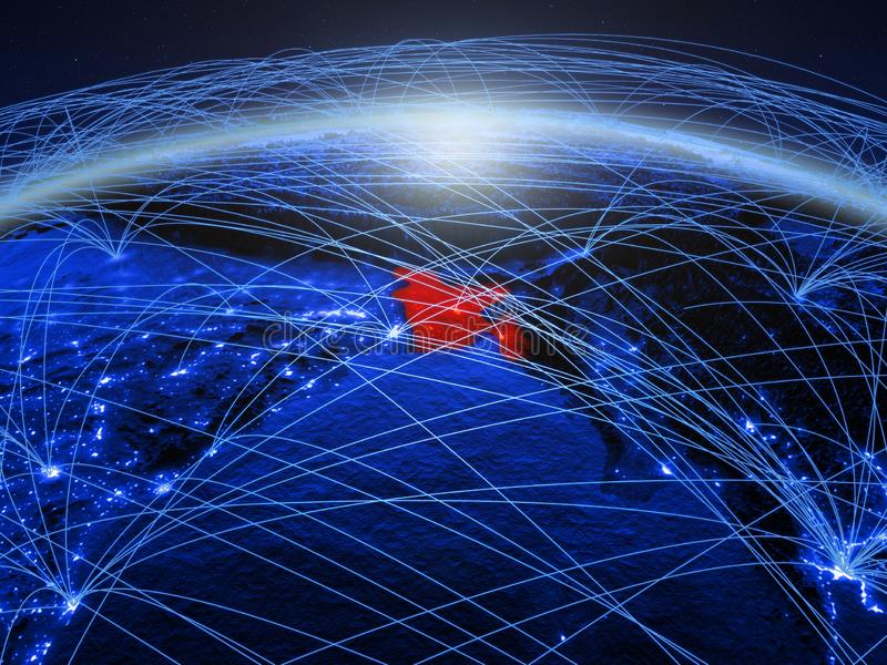 Bangladesh op blauwe digitale aarde met internationaal netwerk die mededeling, reis en verbindingen vertegenwoordigen 3d royalty-vrije stock afbeelding