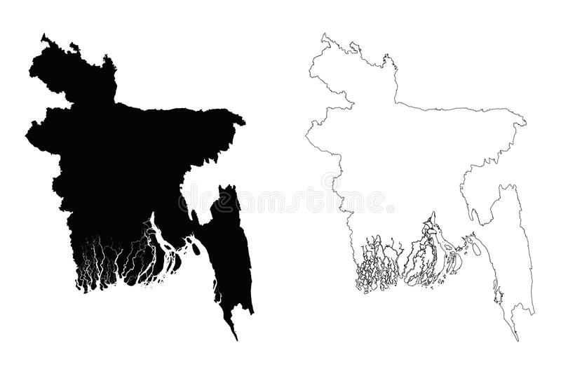 Contour Line Drawing Map : Bangladesh outline map stock vector illustration of line