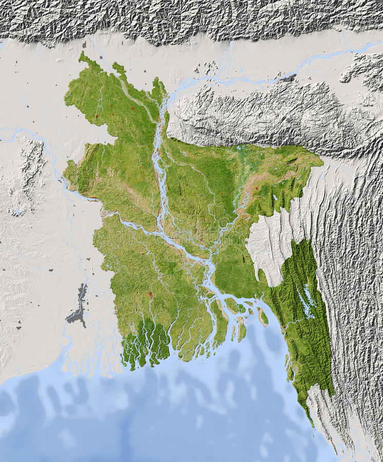 Bangladesh Shaded Relief Map Stock Illustration Illustration of