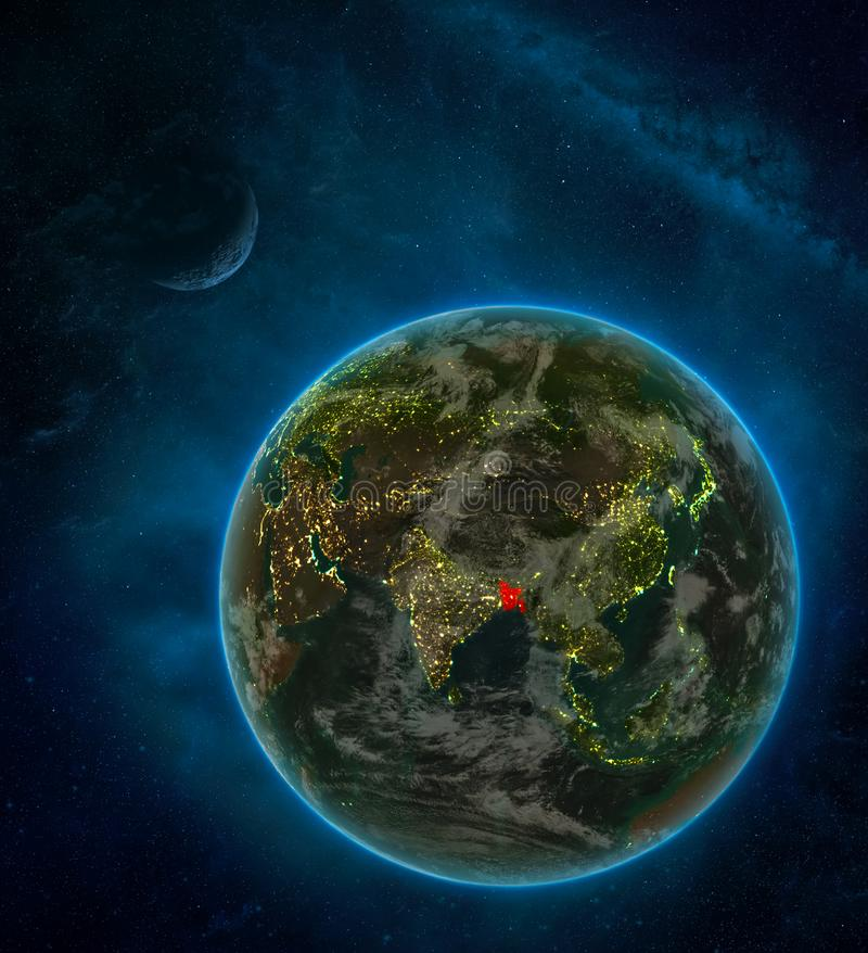 Bangladesh from space on Earth at night surrounded by space with Moon and Milky Way. Detailed planet with city lights and clouds. 3D illustration. Elements of royalty free illustration
