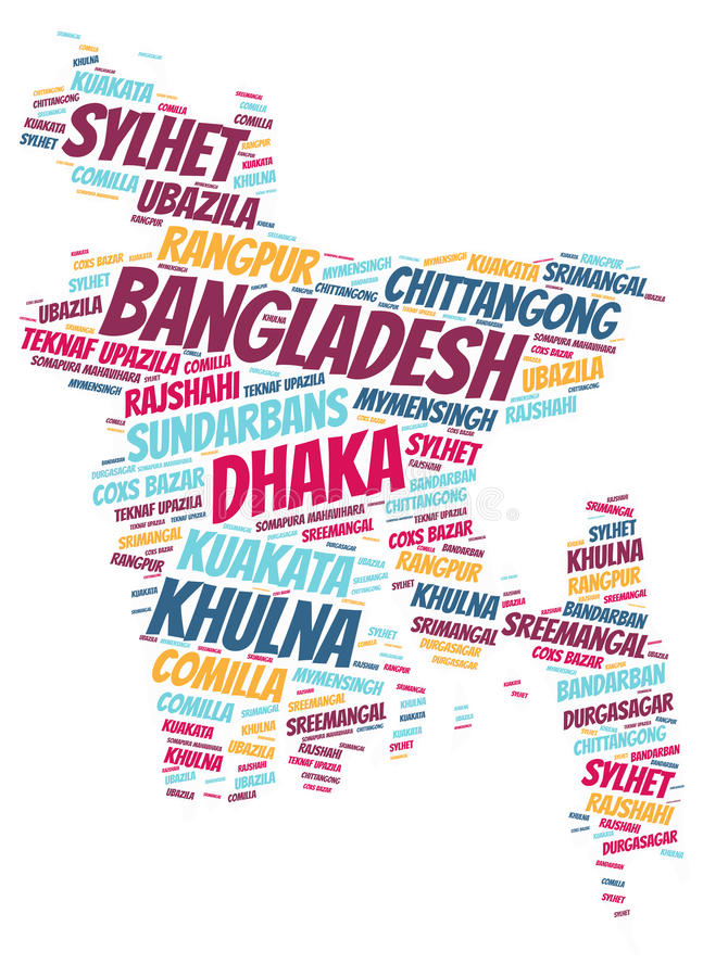Bangladesh top travel destinations word cloud. Bangladesh Map silhouette word cloud with most popular travel destinations royalty free illustration