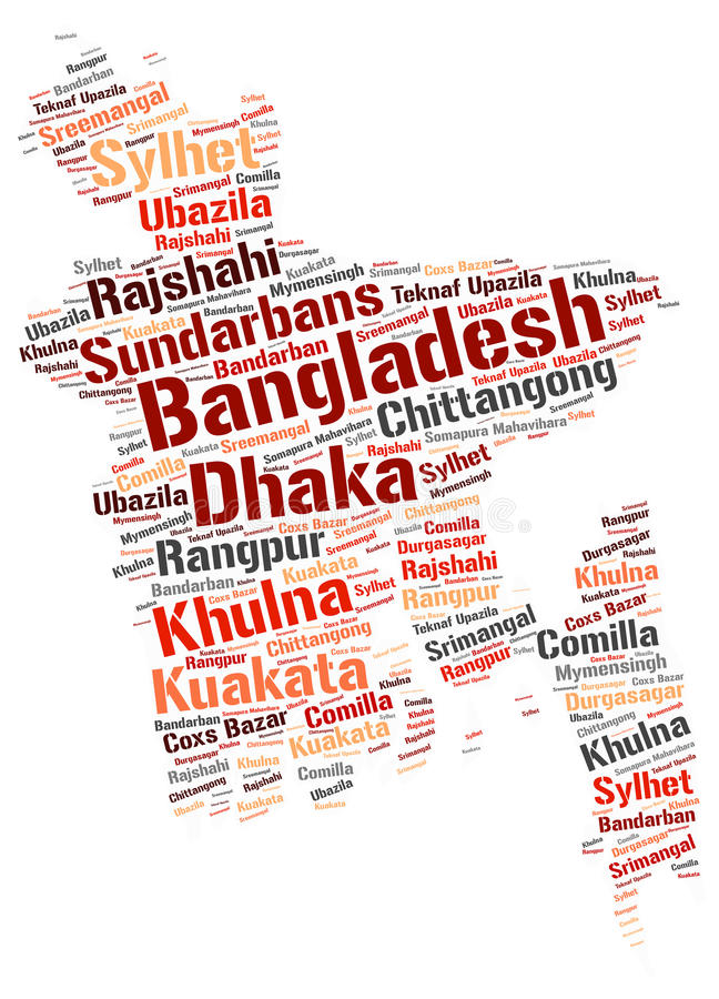 Bangladesh top travel destinations word cloud. Bangladesh Map silhouette word cloud with most popular travel destinations vector illustration